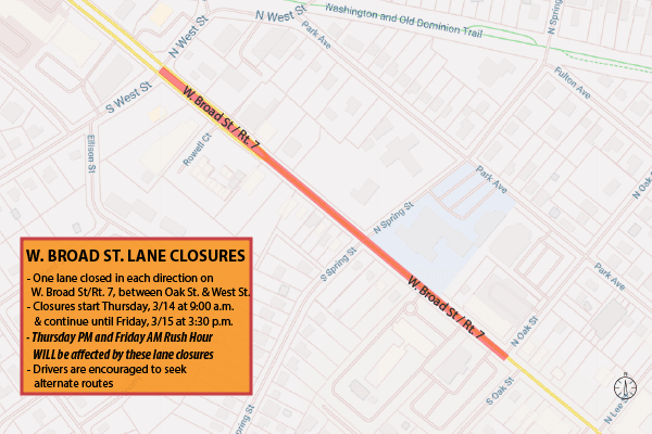 Broad St. lane closures