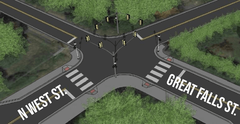 N West and Great Falls Intersection Rendering with