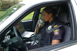 Police Officer talking on the radio