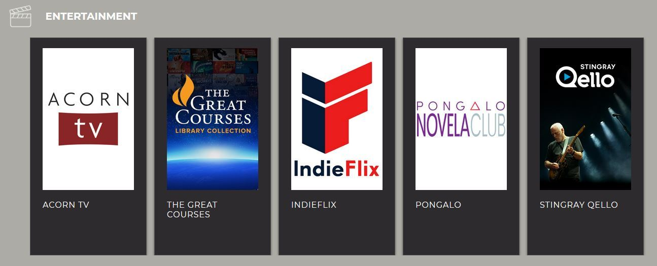 Screen shot of RBdigital streaming options