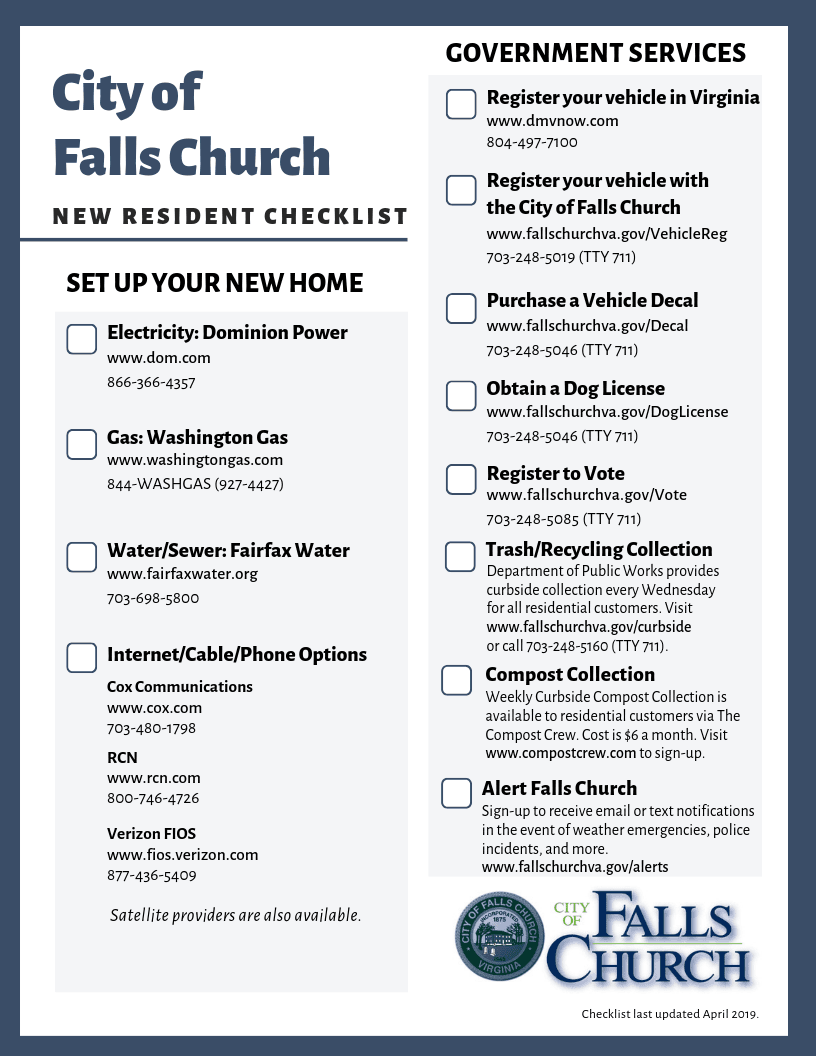New Resident Checklist Flyer