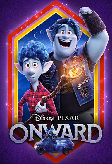 Movie poster for Onward showing brothers Ian and Barley, as well as the van Guinevere.
