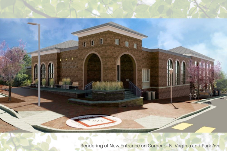 Rendering of the new library entrance at the corner of North Virginia Avenue and Park Avenue.