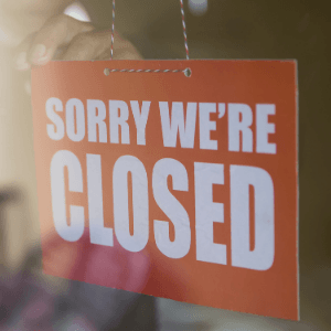 Graphic showing a sign saying, &#34Closed.&#34