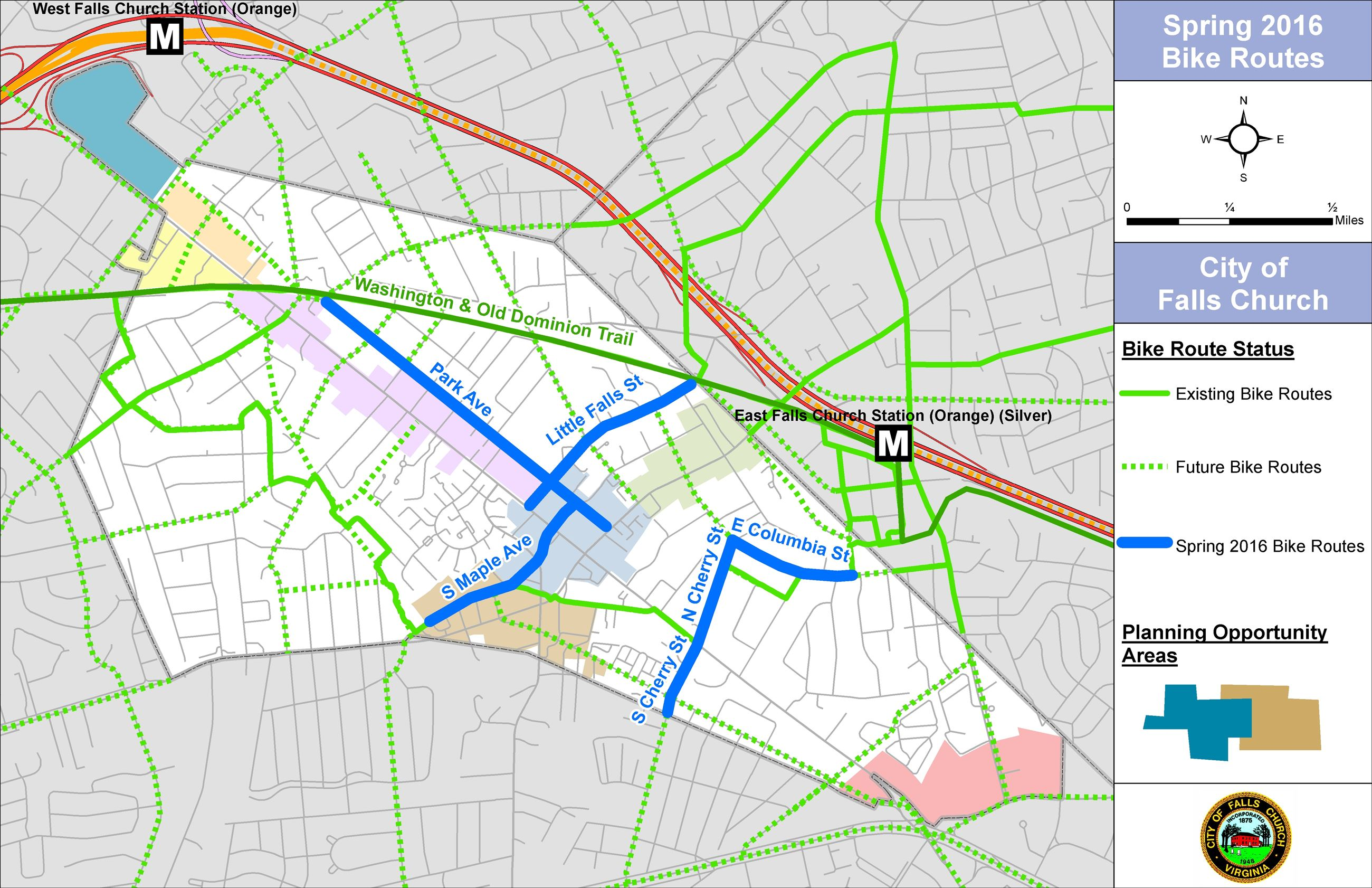 Spring 2016 Bike Routes Map