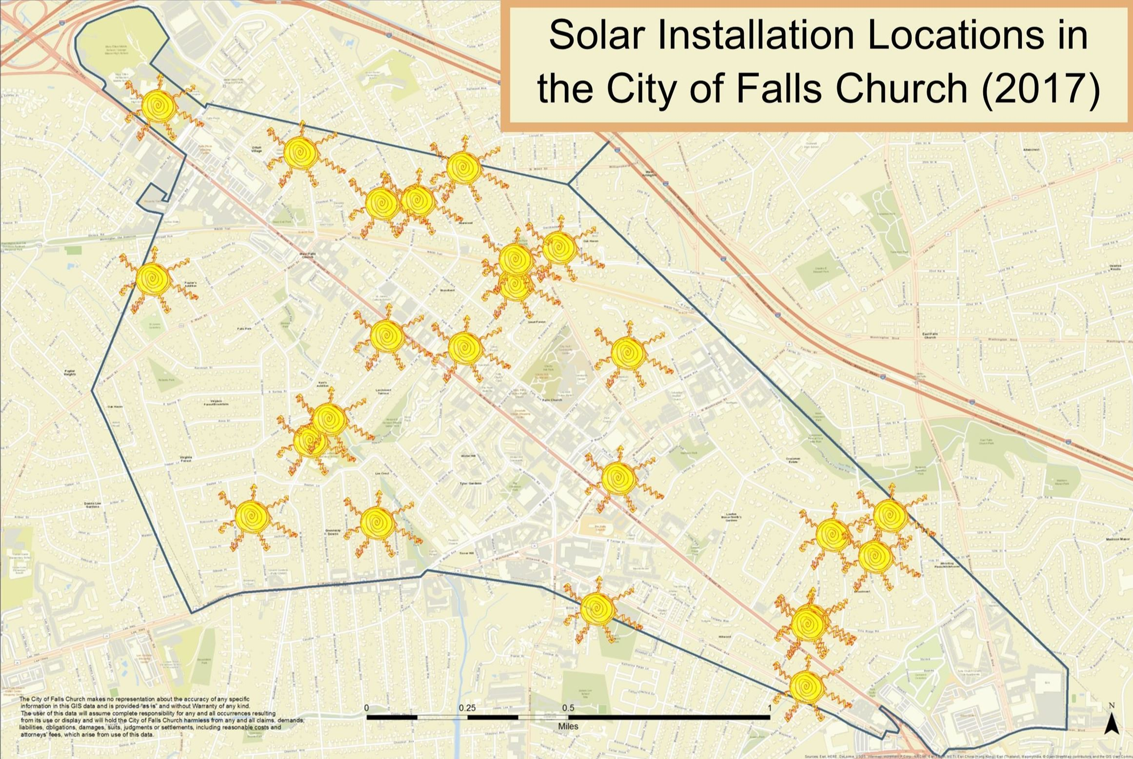 Map showing locations with known solar installations in the City of Falls Church